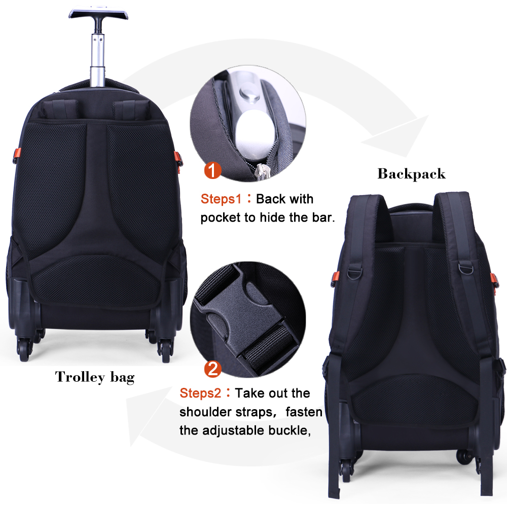 Aoking High Quality Waterproof Travel Trolley Backpack Luggage Wheeled Carry Ons Bags Large Capacity For Laptop In From