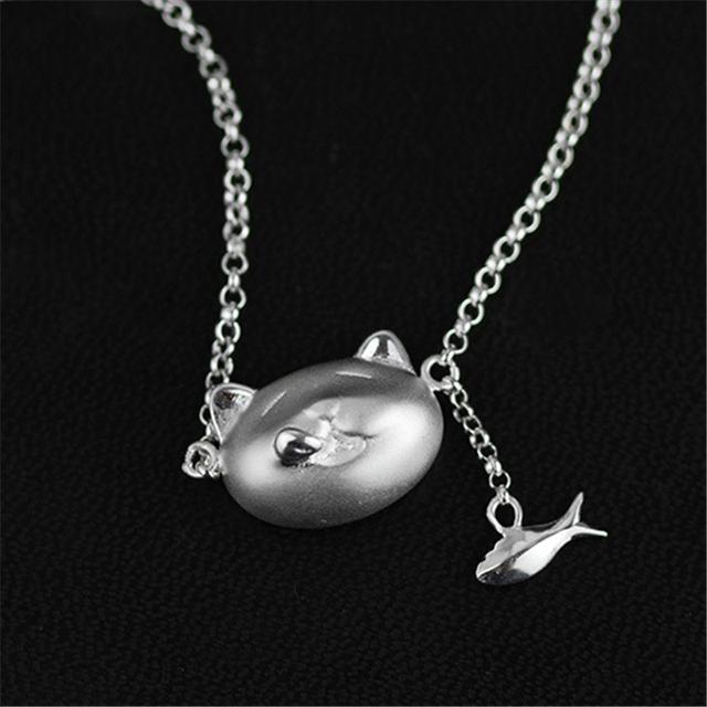 Genuíno 925 Colar de Prata Mulheres de Jóias Artesanais Original Adorável Gato Ganancioso E Design Pingente de Peixe Naturais Shell
