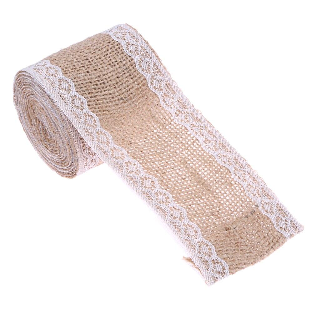 Natural yute arpillera cinta de encaje de arpillera de Navidad de la - Para fiestas y celebraciones - foto 3