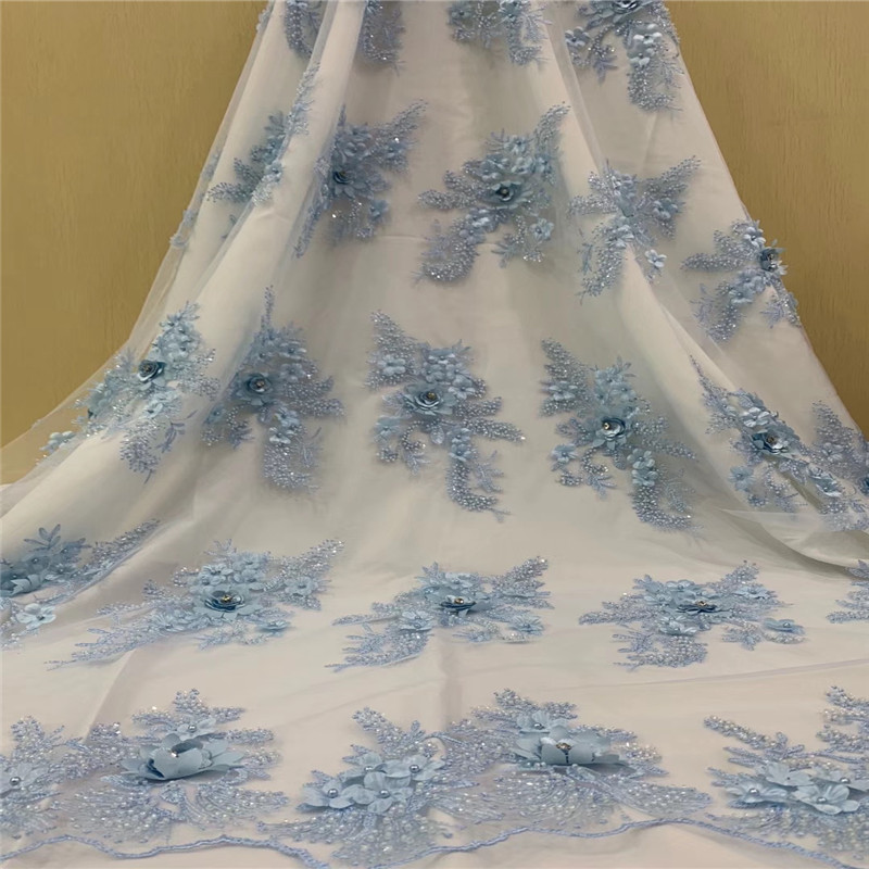 Nigeria African Wedding Dress Powder Blue Pearls Lace French Embroidery Tulle Fabric Heavy Handmade Beaded Lace Fabric X740 8