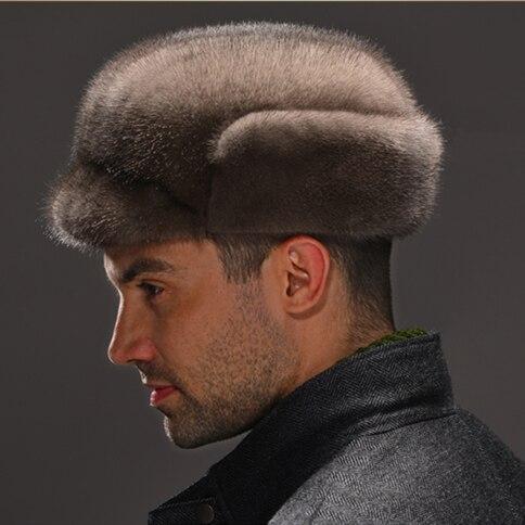 HM036  Real genuine mink  hat  winter Russian men's warm caps whole piece mink  fur hats