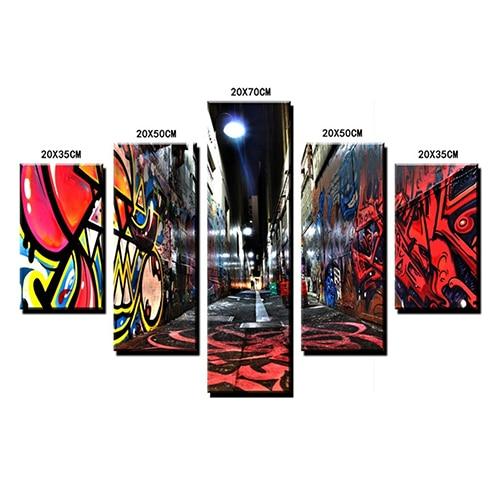 Nº5Pcs/Set Graffiti Multicolor Wall Art Decor Oil Abstract Pictures ...