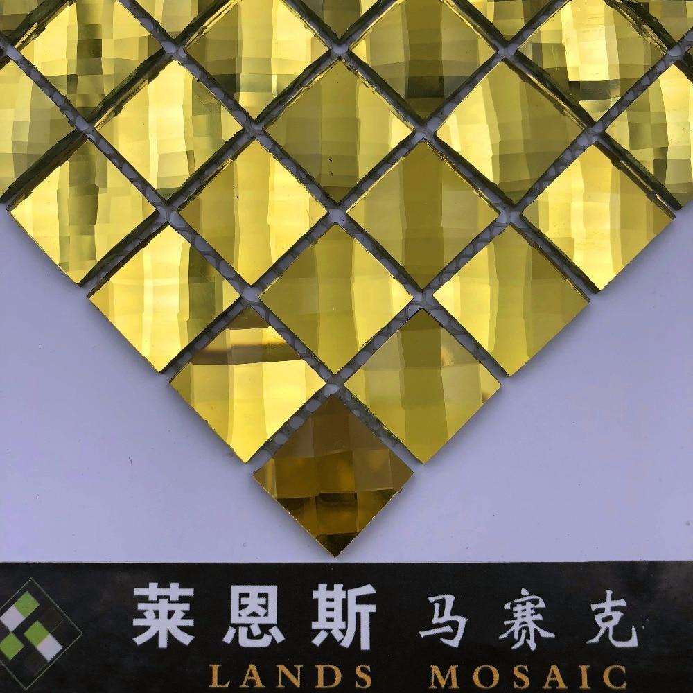 Splendid 13 Facets Diamond Golden Mirror Crystal Glass Mosaic Tiles ...