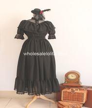 Royal Court Gothic Black Chiffon Mori Girl Lolia Dress Lolita Channel A-line 4XL For Sale Tea Party Dresses