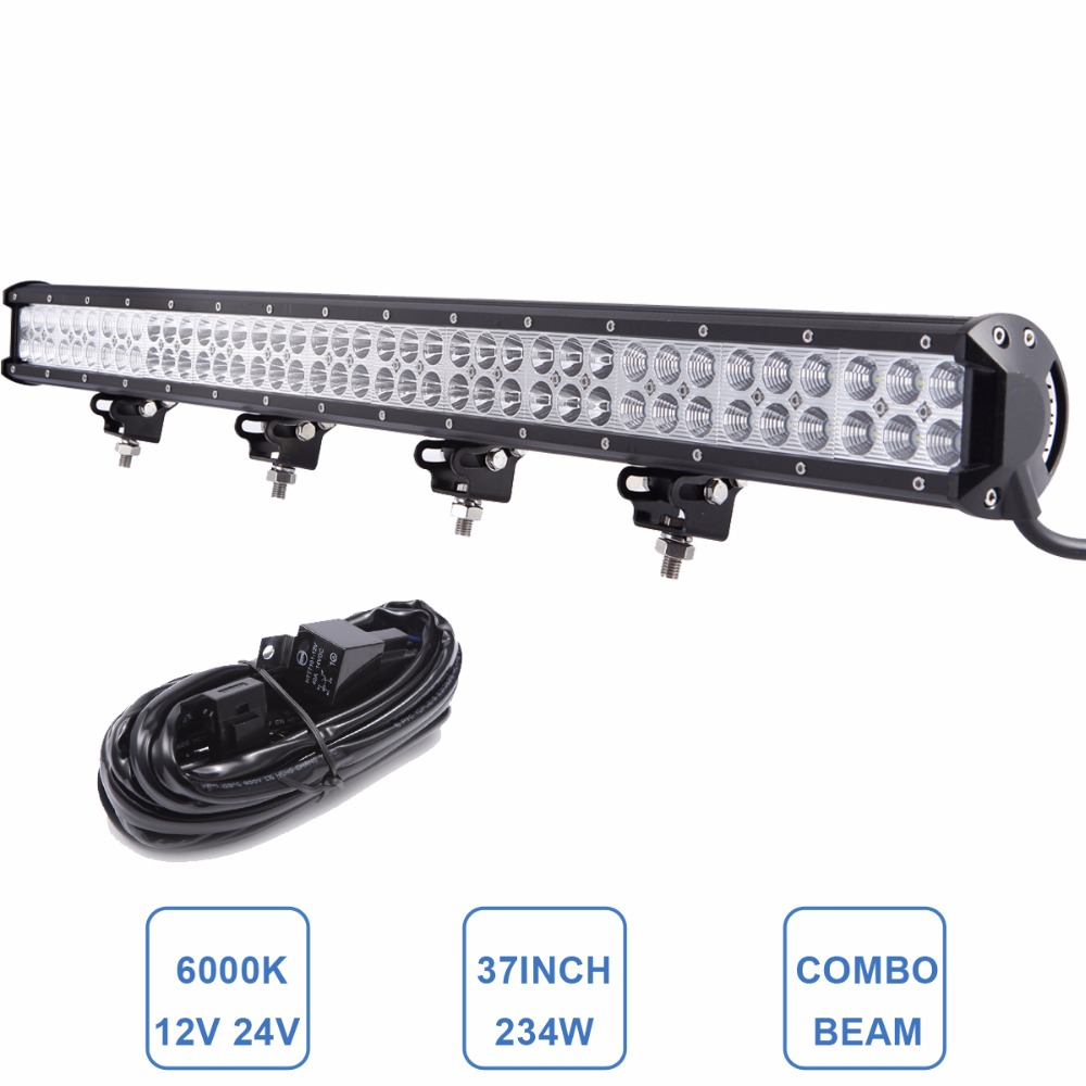 37'' Offroad 234W LED Light Bar Car SUV Boat Wagon Pickup Van Camper Truck Trailer 4WD 4X4 RZR 12V 24V Combo Driving Headlight auxbeam 44 576w cree chip led head light bar 6000k offroad work light for atv utv suv rzr pickup boat car driving led bar 3 row