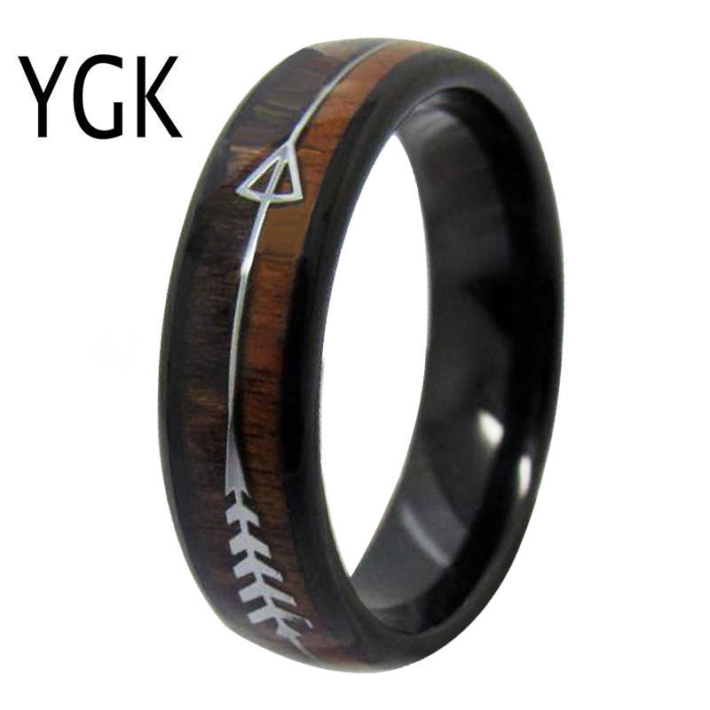 แหวนผู้ชายผู้หญิงแหวนเครื่องประดับอินเทรนด์ผู้ชายคลาสสิกหมั้นแหวนทังสเตนไม้แหวนเงิน Arrow Bohemian งานแต่งงาน
