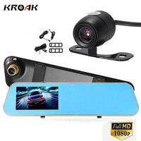 Kroak HD 1080P Car Camera Rearview Mirror Auto DVR Dual Lens Dash Cam Video Recorder DVR
