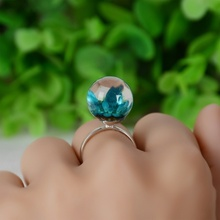 Women Fashion Dried Flower Resin Round Ball Ring DIY Handmade Finger