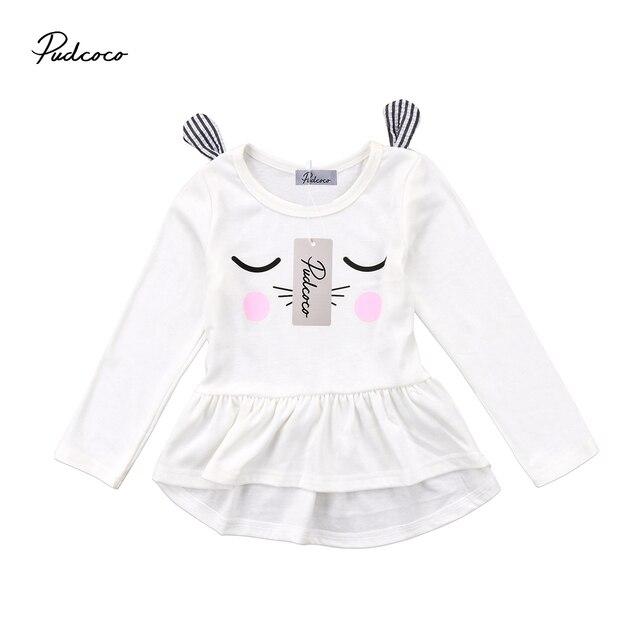 0b8b6c282014 Cute Infant Kids Baby Girls Cartoon 3D Ear Cat Smile Eye Long Sleeve ...