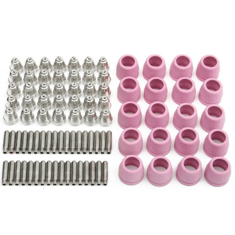 90PCS Plasma Cutter Torch Consumables Cutting Gun Nozzles Electrodes Groove Shiled Cups 60A For AG60