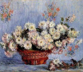 High quality Oil painting Canvas Reproductions Chrysanthemums (1878) by Claude Monet hand painted