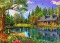 El nuevo DIY 5d diamante mosaico paisajes jardín Lodge pintura Cruz Stitch kits diamantes Bordado decoración del hogar paisaje