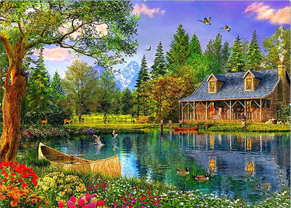 Den nye DIY 5D Diamond mosaik Landskaber Garden lodge Maleri Cross Stitch Kits Diamanter Broderi Home Decoration Landskabet