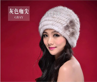 DL6040 Hand Made 100% real mink fur knitted hat winter fur hat cap For Women Natural Fur Hats