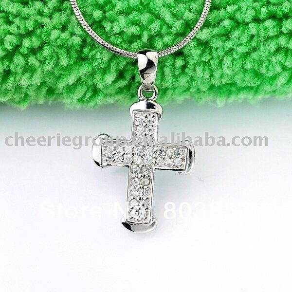 925 sterling silver cross pendant decorated by Zircon stones, support wholesale with small MOQ and cheap price