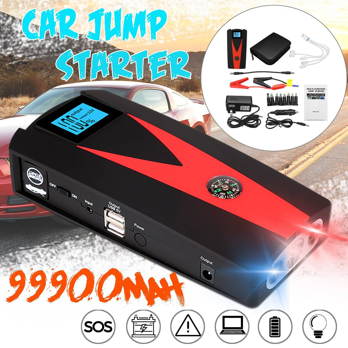 99900mAh Car Jump Starter 12V LED 2USB SOS Emergency Power Bank For Portable Car Battery Booster Charger Starting Device(China)