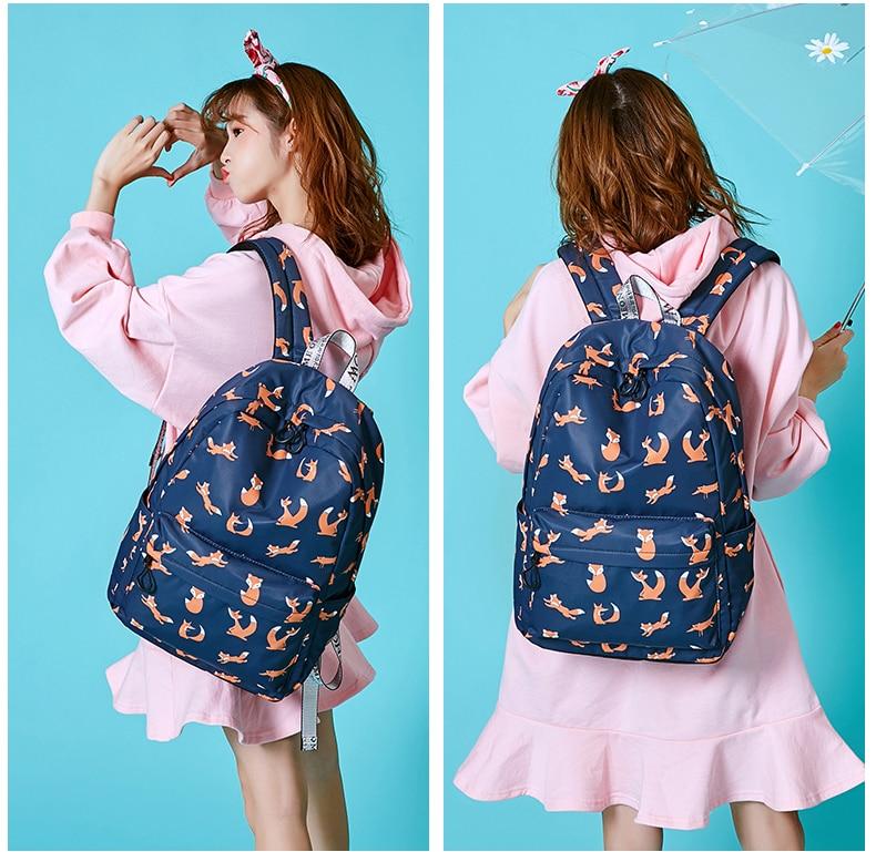 WINNER Cute Animal Fox Printing School Backpacks Waterproof Women Bag Laptop Backpack Female Mochila Bolsas E Sacolas (9)