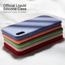 กรณีซิลิโคนเดิมสำหรับ iPhone 7 8 XS MAX Luxury สีธรรมดา Silicon สำหรับ iPhone 6 6 S plus X XR Funda Coque Capas