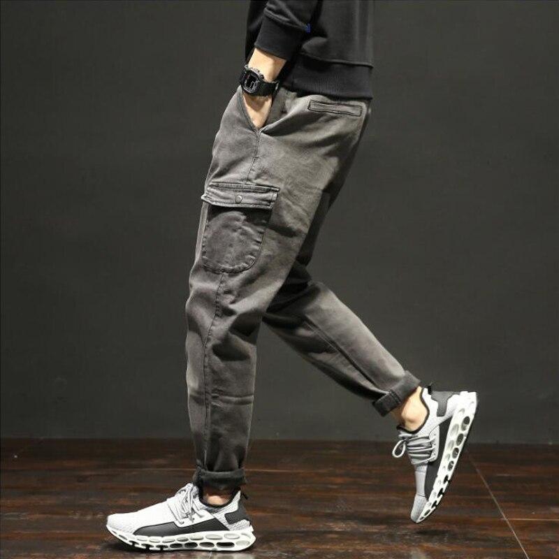 High Street Fashion Men   Jeans   Black Gray Color Punk Style Ankle Banded Trousers Big Pocket Cargo Pants Hip Hop Jogger   Jeans   Men