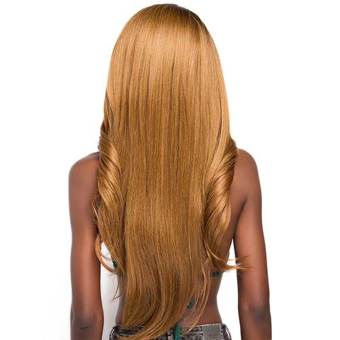 Ombre Brown Blonde Color Lace Part Synthetic Hair Wigs With Bangs X-TRESS Long Straight Middle/Side Part Wig For Black Women Karachi