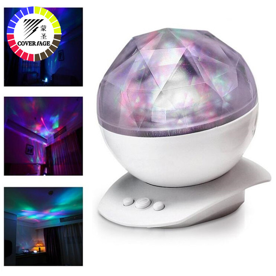 Coversage Night Light Ocean Wave Aurora Sky Speaker Projector Baby Kids Sleep Romantic Led Starry Star Master Changeable LampLED Night Lights   -