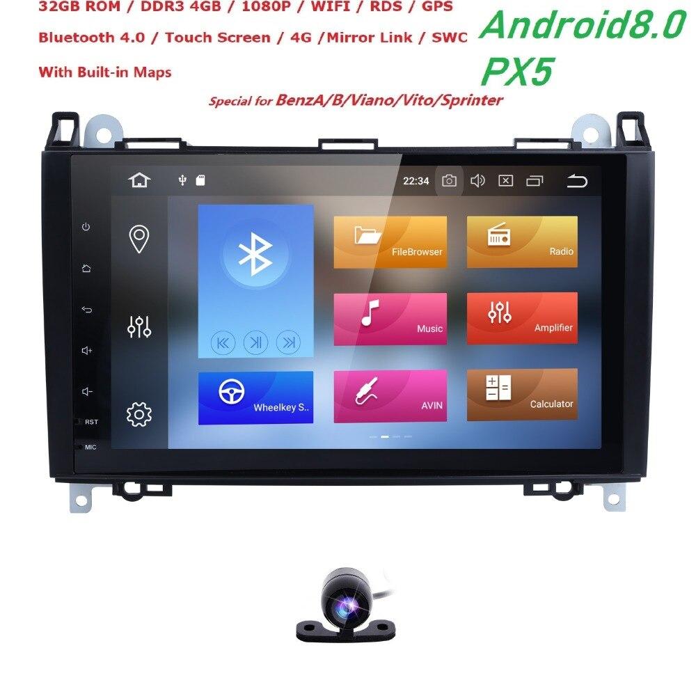 9' Android 8.0 Multimídia de Carro para Mercedes Benz Viano Vito sprinter W639 W169 W245 W209 W906 Crafter AutoRadio PX5 Wi-fi gb + 32 4 gb