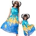 New summer 2016 mother daughter dresses sleeveless beach dress Red Blue chiffon belt beautiful party long dress