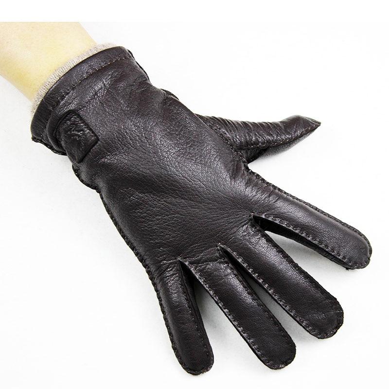 New Deerskin Gloves Men's Hand-stitched Straight Style Dark Brown Wool Lining Autumn Warm Leather Gloves Free Shipping