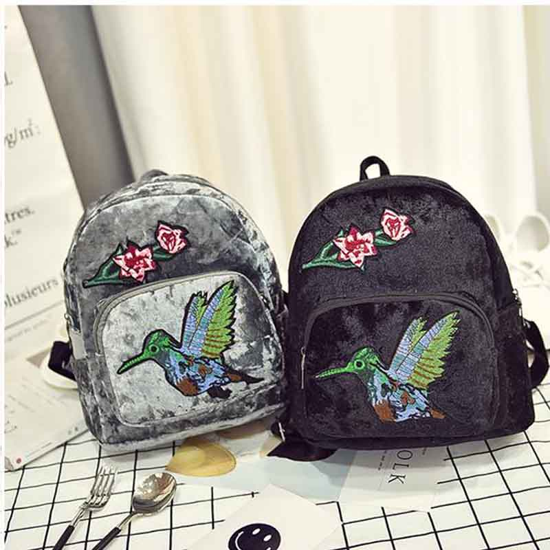 National Style Retro Fashion Women s Small Backpack Embroidery Flower Velvet Grils Casual Travel Bags Quality