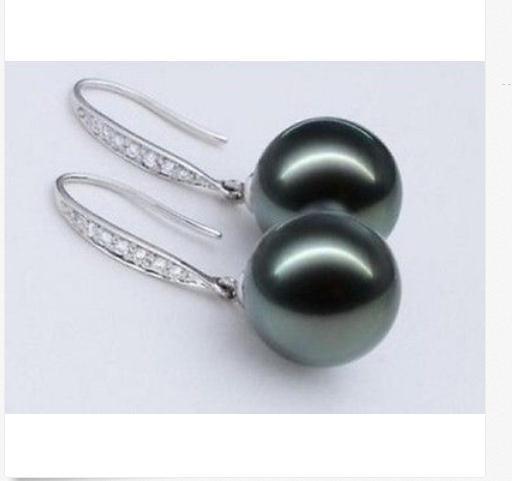 Affascinante 10-11 millimetri di tahiti nero rotondo verde orecchino di perla 925 sAffascinante 10-11 millimetri di tahiti nero rotondo verde orecchino di perla 925 s