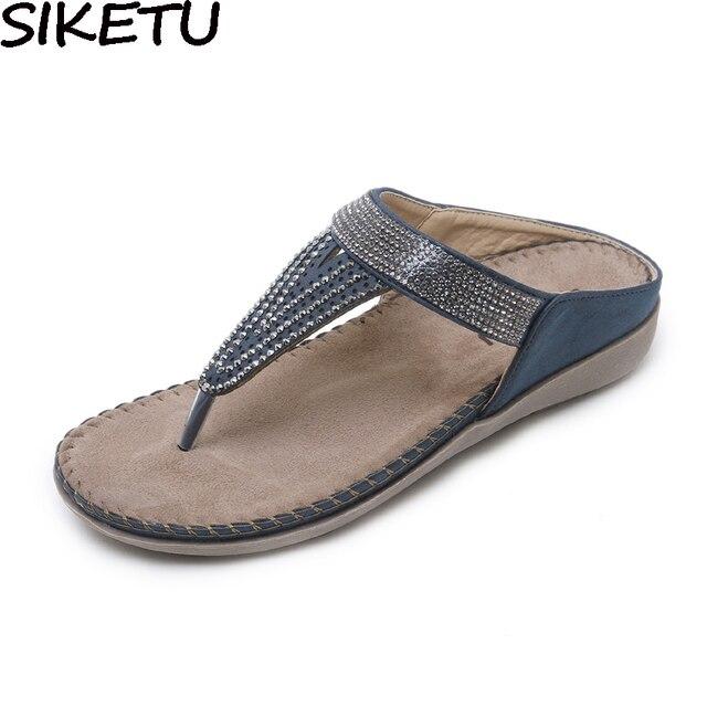SIKETU Women Summer Sandals Flip Flops Rhinestone Crystal Mules Slides  Silppers Soft Bottom Comfort Flat Heel c3a4e5004753