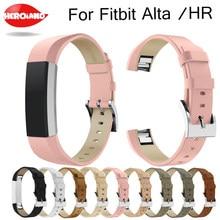 Luxo couro genuíno banda substituição pulseira de pulso para fitbit alta/alta hr rastreador alta qualidade pulseira preta