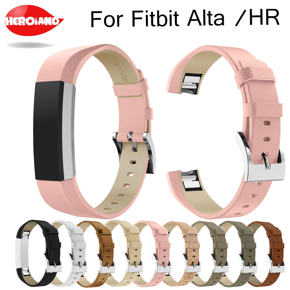 Luxury Genuine Leather Band Replacement wrist Strap Bracelet for Fitbit Alta /Alta HR Tracker High Quality bracelet strap Black image