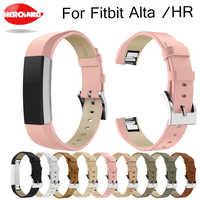 Pulsera de correa de muñeca de repuesto de banda de cuero genuino de lujo para Fitbit Alta/Alta HR Tracker correa de pulsera de Alta calidad negro