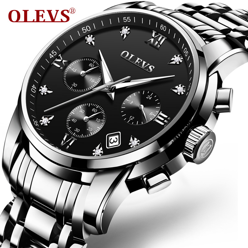 OLEVS Big Face Men Quartz Wristwatches Calendar Waterproof Male Clock Stainless Steel Belt Auto Date Business Watch For Men 2858