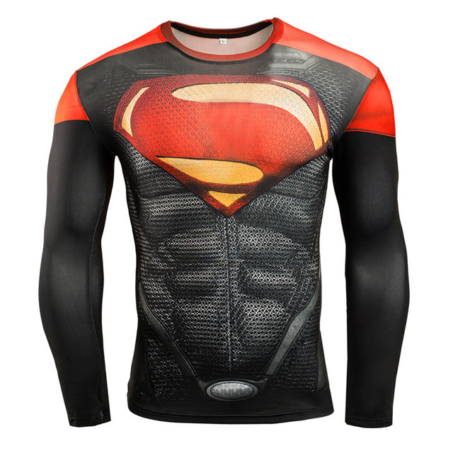 Hot Sale Fitness MMA Compression Shirt Men Anime Bodybuilding Long Sleeve Crossfit 3D Superman Punisher T Shirt Tops Tees