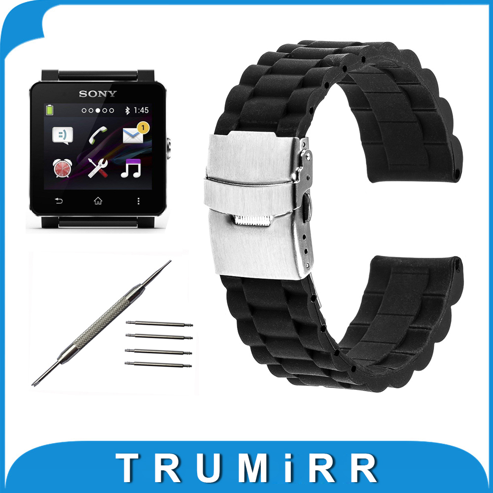 24mm silicone rubber watchband for sony smartwatch 2 sw2. Black Bedroom Furniture Sets. Home Design Ideas