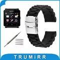24mm pulseira de borracha de silicone para sony smartwatch 2 sw2 banda substituição 3 ponteiro pulseira de resina pulseira fivela de aço inoxidável