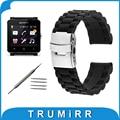 24mm reemplazo banda de caucho de silicona correa para sony smartwatch 2 sw2 3 resina puntero correa de acero inoxidable pulsera de la hebilla
