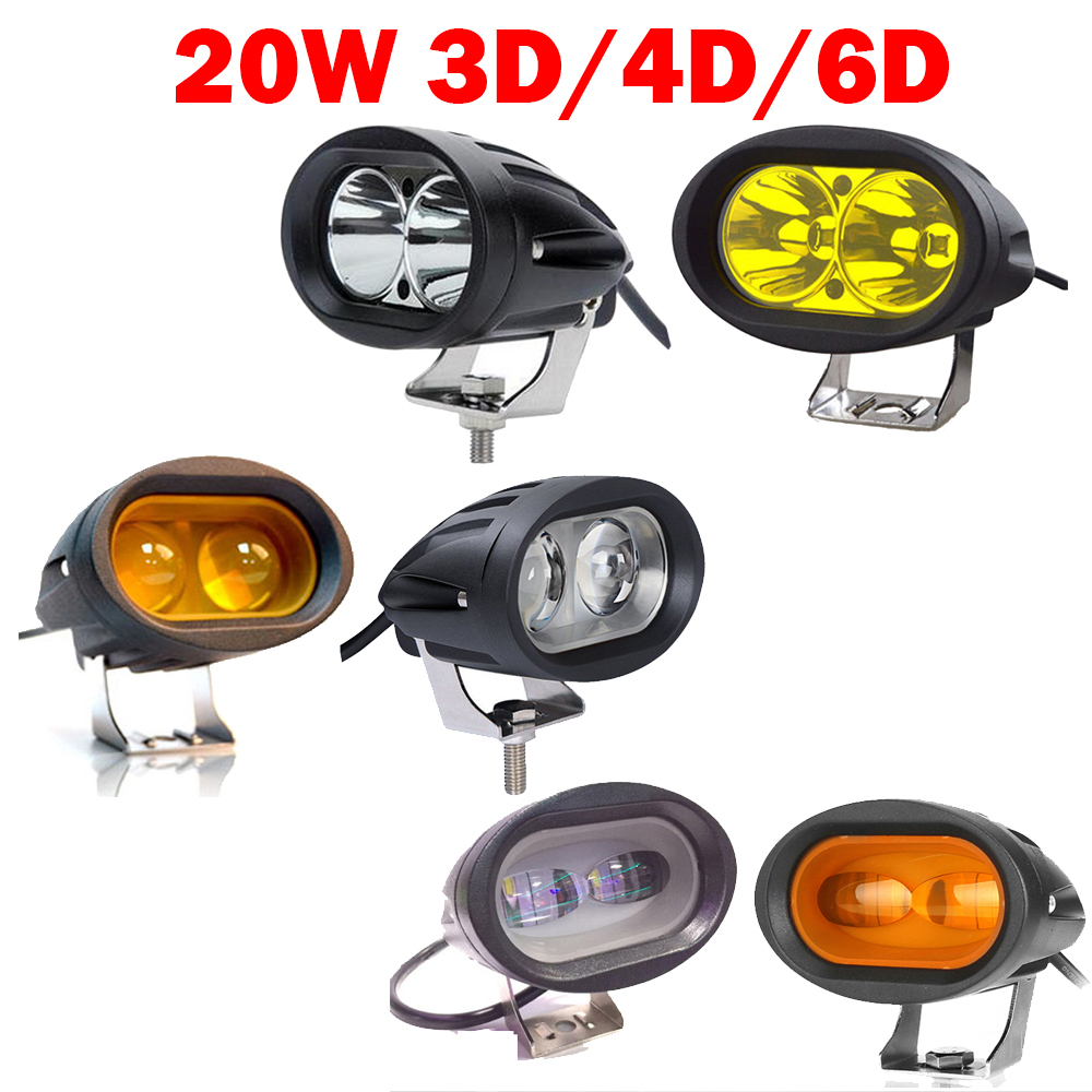 2x 20W 3D 4D 6D White/Amber/Yellow LED Work Light Bar Car Driving Fog Offroad Spot Flood Truck SUV Motorcycle ATV Bike Head Lamp цена
