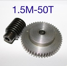 цена на 1.5M-50T  reduction ratio:1:50  45Steel metal worm gear reducer transmission parts wore hole:10mm--D:79.5MM