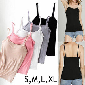 Fashion Casual Camisole with Built in Shelf BRA Adjustable Spaghetti Strap Tank Top S-XL