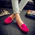 Hot Sale 2016 Mulher Verão Flats Nova Moda Pure Color Concisa selvagem Plana Sapatos Casuais Dedo Do Pé Redondo Confortável Sapatos Femininos aDT81