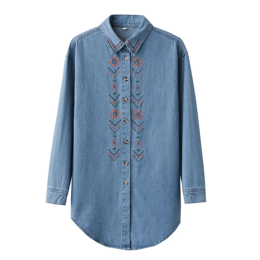 Retro women blue jeans denim blouse with embroidered long for Blue denim shirt for womens