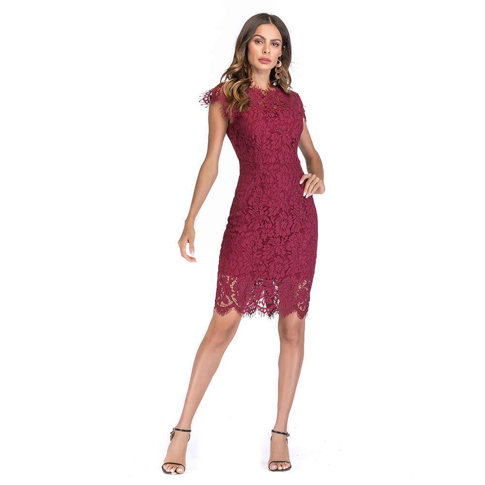 a35d43360873c Vintage Burgundy Summer Lace Dress Sheath Bodycon Party Dress Midi Length  Slim Black Vestido 2018 Elegant Hollow out White Robe