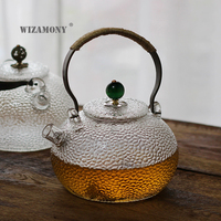 WIZAMONY High Borosilicate Glass Metal Handle Tea Pot Teapot Capacity 700ml Teacup High Temperature Resistance