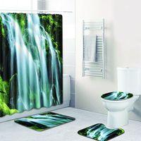 Natürliche schöne landschaft wasserfall dusche vorhang set polyester wasserdicht dusche vorhang 180x180 cm mit bathroommat 4 teile/satz