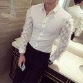 Forma Quadrada dos homens À moda da Camisa 2017 Manga Longa Camisa de Renda com homens de pele camisa prom party evento stage slim fit camisa preta branco