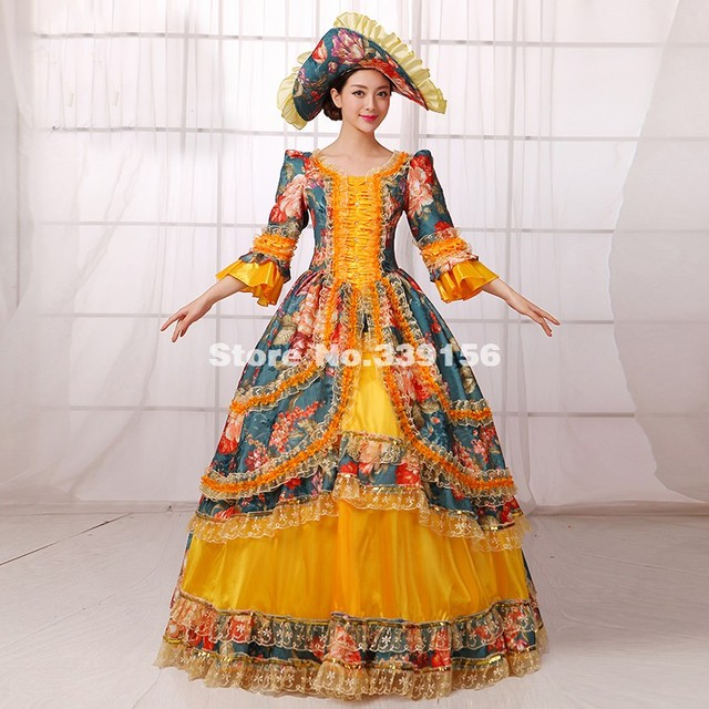 US $165.0 |Fashion Plus Size Gold And Green Printed Marie Antoinette  Halloween Costumes Women Gothic Victorian Southern Belle Dress -in Dresses  from ...
