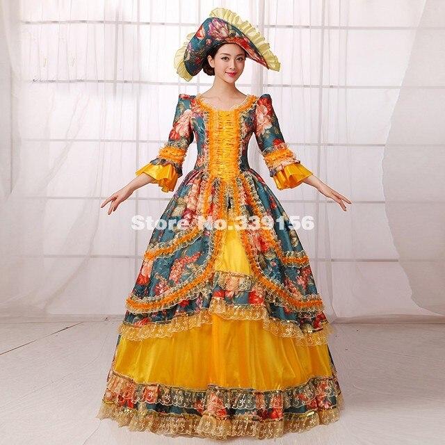 Mode Plus La Taille Or Et Vert Imprimé Marie Antoinette Halloween Costumes Femmes  Gothique Victorienne Southern 8fe7ad65f46